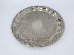 Vintage Silver Plated Serving Tray Chased Ornate Falstaff 15.25 Diameter