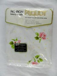 Vintage New In Package White Pink Roses Twin Flat Sheet Shabby Chic Pequot 50/50