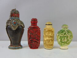 Lot Of 4 Vintage Antique Chinese Snuff Bottles Qianlong Cinnabar Turquoise Coral