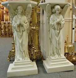 Pair Of 39 Angel Pedestals, Statues, Credence Tables - Church Statuary-