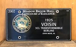 2002 Meadow Brook Hall Concours D'elegance 1925 Voisin Porcelain Plate Number