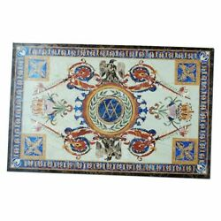 54 Marble Dining Table Top Inlay Rare Semi Antique Center Coffee Table Ar0270