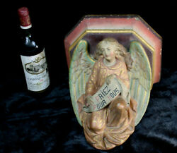 Antique French Chalkware 19th Arch Angel Wall Console Church