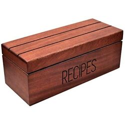 Large Sapele Recipe Box Cards Dividers Apace - Vintage Wood 4x6 Holder From The