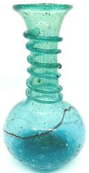 Antique Roman Bottle Green Glass Red Swirl Rigaree And Bubbles Specks Of Gold