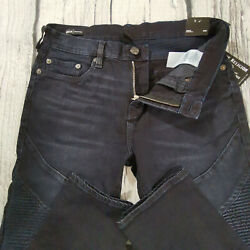 Menand039s True Religion Jeans 32 X 33 Rocco Moto Skinny Leg Navy Blue Rrp Andpound199 Bnwt