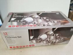 Old Dutch Cookware Set Stainless Steel Dishwasher-safe Glass Lids 12-piece