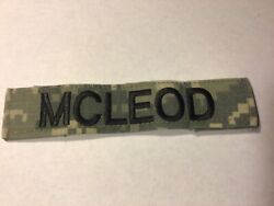 Acu Us Army Mcleod Name Tape Patch Velcro® Brand Hook Fastener Euc