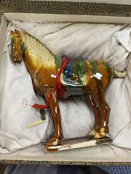 A Antique Chinese Amber-glazed Pottery Figure Of A Caparisoned Horse