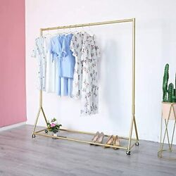 Gold Clothing Rack, Boutique Display Garment Wheels, Modern For Retail Use 59