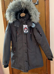 Canada Weather Gear Gray Hooded Removable Fur Long Winter Parka Jacket Size S
