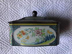 Vintage Floral Tin Box Made In Holland Blue Green Pink Storage Tea Tin Butterfly