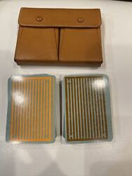 Hermes 2 Sets Of Playing Cards In Brown Leather Hermes Playing Case