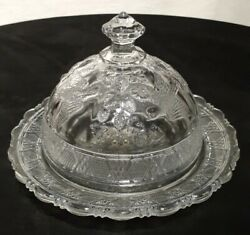 Eapg Bird And Strawberries Covered Butter Dish Antique Glassware Circa 1910