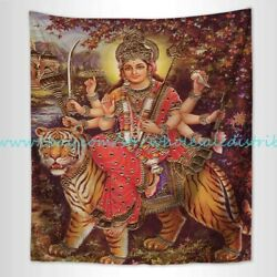 fabric poster wall decor Durga and the Tiger wall tapestry