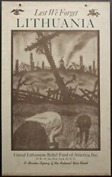 C.1945 United Lithuanian Relief Fund Of America Poster Lest We Forget Lithuania