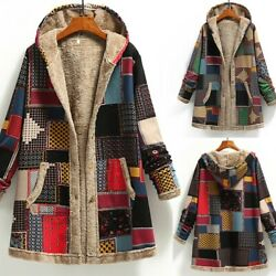 Womens Winter Warm Outwear Print Hooded With Pockets Vintage Coats Cardigan
