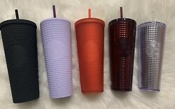 New Starbucks Matte Black, Red, Lilac, Silver, Burgundy Tumbler Cold Cup 24 Oz