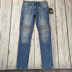 Menand039s True Religion Jeans 30 X 33 Rocco Moto Skinny Leg In Blue Rrp Andpound199 Bnwt