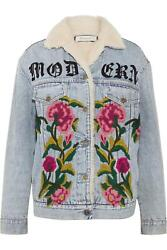 Shearling Lined Embroidered Denim And Jacquard Jacket It 44 Uk 12