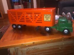 """Wow Vintage Structo Cattle Farms Truck With Trailer Excellent Condition 21"""""""