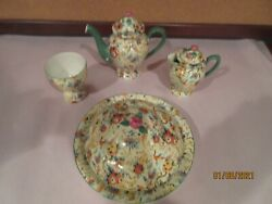 Chintz, Four Unusual Misc. Pieces, Exotic Birds By Empire Ware, Vgc
