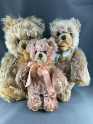 Antique Steiff Trio Of Zotty Bears 11, 9, 7 Excellent Condition Germany