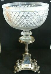 Rare Antique Large Mappin Bros Silver Plate / Cut Glass Centre Piece Andndash Armorial
