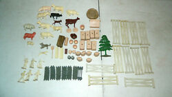Vintage 1950 50and039s 1960and039s 60and039s Marx Farm Animals And Accessories 72 Pieces Lot
