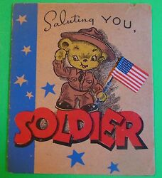 1940 Wwii Greeting Card-saluting U Soldier-attached Flag-dressed Animal-unused