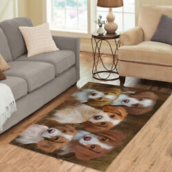 Personalized Rustic Brittany Spaniel Dogs Living Room Area Rug, Pet Rug Mats