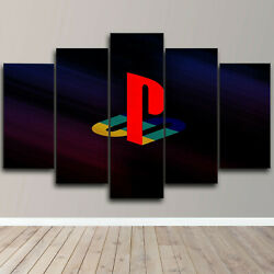 Framed Play Station Logo 5 Piece Canvas Wall Art Gamer Print Home Decor