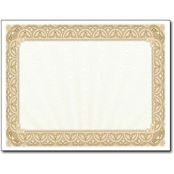 Gold Border Blank Certificate Paper - 100 Pack 8.5andquot X 11andquot Certificates