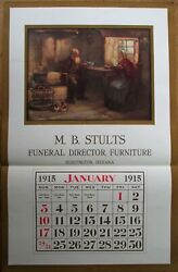 Huntington In 1915 Advertising Calendar/17x26 Poster Funeral Director- Indiana