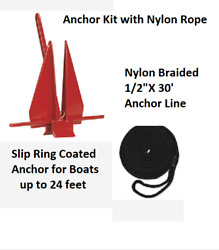 Boat Anchor Kit Red Plastic Coat Slip Ring 11 Lb With 1/2 X 30and039 Nylon Rope
