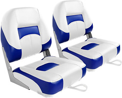 Leader Accessories A Pair Of New Low Back Folding Boat Seats2 Seats A-blue/white