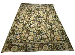 French Needlepoint Savonnerie Floral Blue Ribbon Rug 12andrdquo X 9andrdquo Flatweave