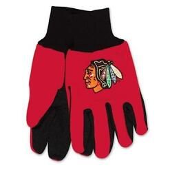 Chicago Blackhawks Two Tone Gloves - Adult Size [new] Nhl Work Glove Cold