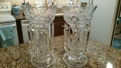 One Pair Antique 19th C. Victorian Crystal Mantel Lusters Prisms Lamps