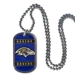 Baltimore Ravens Tag Style Necklace [new] Nfl Jewelry Chain Choker Dog Dogtag