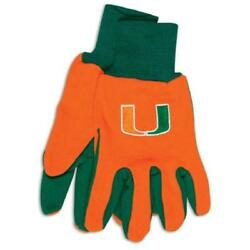 Miami Hurricanes Two Tone Gloves - Adult Size [new] Ncaa Work Glove Cold