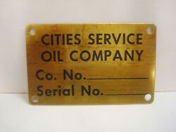 Cities Service Oil Company Brass Inventory Asset Property Tag Gas Pump Tank Vtg