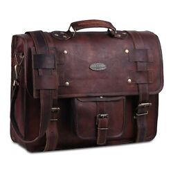 Leather Messenger For Men Women Briefcase Laptop Computer Distressed Bag 15 inch $61.09