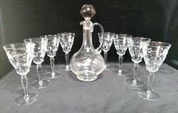 Vntg Etched Flowers And Leaves Clear Glass Decanter Stopper Handle 8 Goblets 8oz.