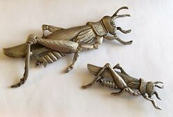 Antique Sterling Signed Cini Pair Of Grasshopper Pins