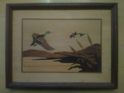 Hudson River Inlay Wood Marquetry Ducks In Flight Jeff Nelson 9 3/4x12 3/4