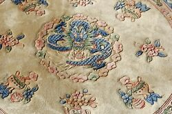 C1940s Antique Round Art Deco Chinese Dragon Design Rug 6and039 Dm Dragons In Cloduds