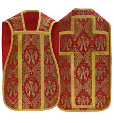 Red Roman Fiddleback Chasuble With Stole Angels Vestment Casulla Roja Rc60