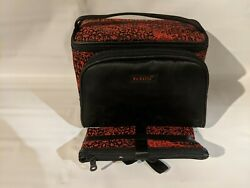 MODELLA 3 PIECE COSMETIC GIFT TRAVEL SET NEW BLACK RED BROCADE PATTERN $6.95