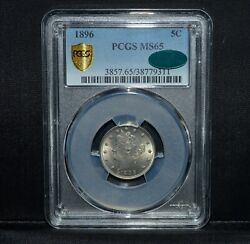 1896 Liberty V Nickel ✪ Pcgs Ms-65 Cac ✪ 5c Gem Unc L@@k Now Scarce ◢trusted◣